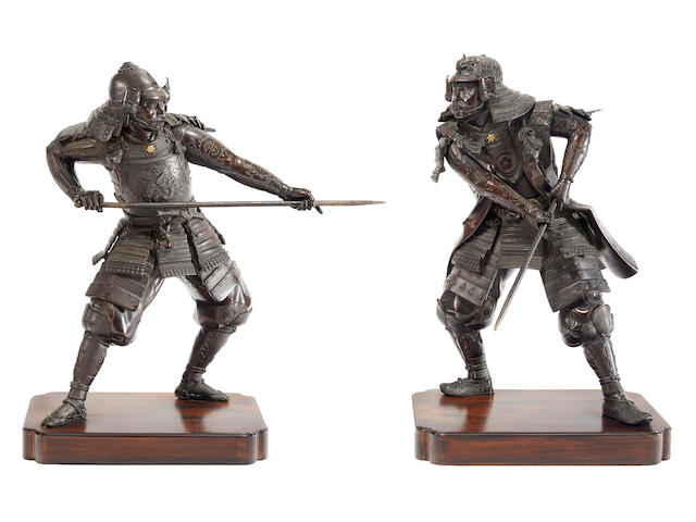 A pair of bronze models of samurai By Yoshimitsu, Meiji period (late 19th century)