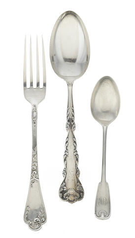 An assembled group of American & German  silver  flatware by various makers,  20th century