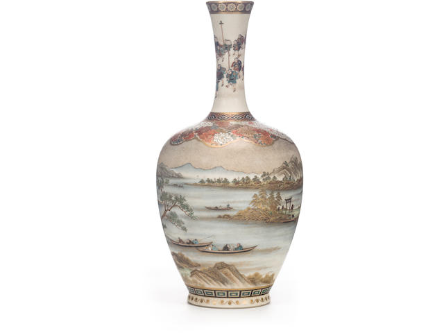 A fine Satsuma bottle vase By Yabu Meizan, Meiji period (late 19th century)