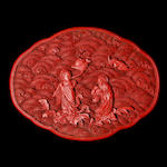 A fine oval cinnabar lacquer box and cover 18th century