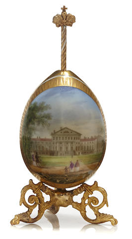 A porcelain Easter egg with a topographical sceneprobably Imperial Porcelain Factory, St. Petersburg
