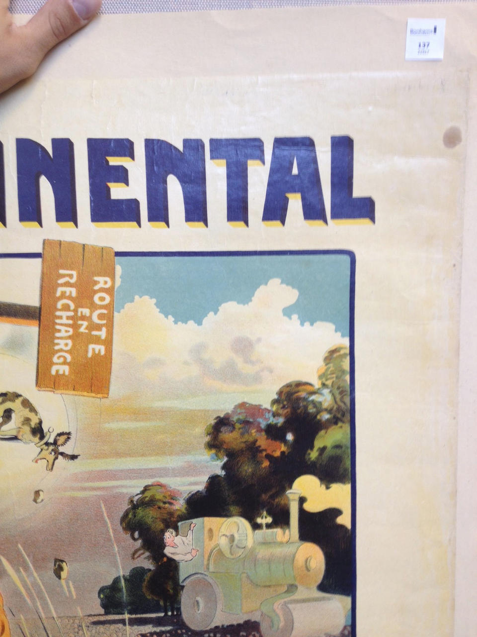 """An original """"Continental Tire"""" advertising poster by Ernest Montaut, circa 1905,"""