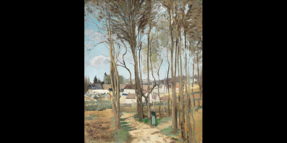 Camille Pissarro, Le Village a travers les arbes, signed, oil on canvas, 21 1/4 x 17 1/2in
