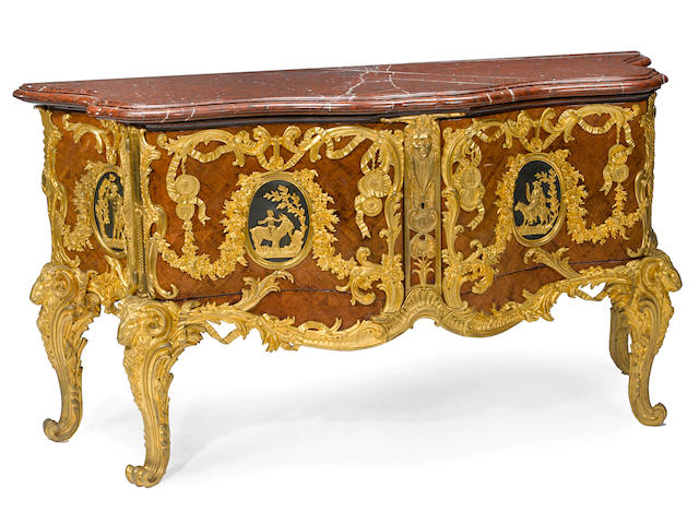 A good Louis XV style gilt bronze mounted marquetry commode a medaillier late 19th century