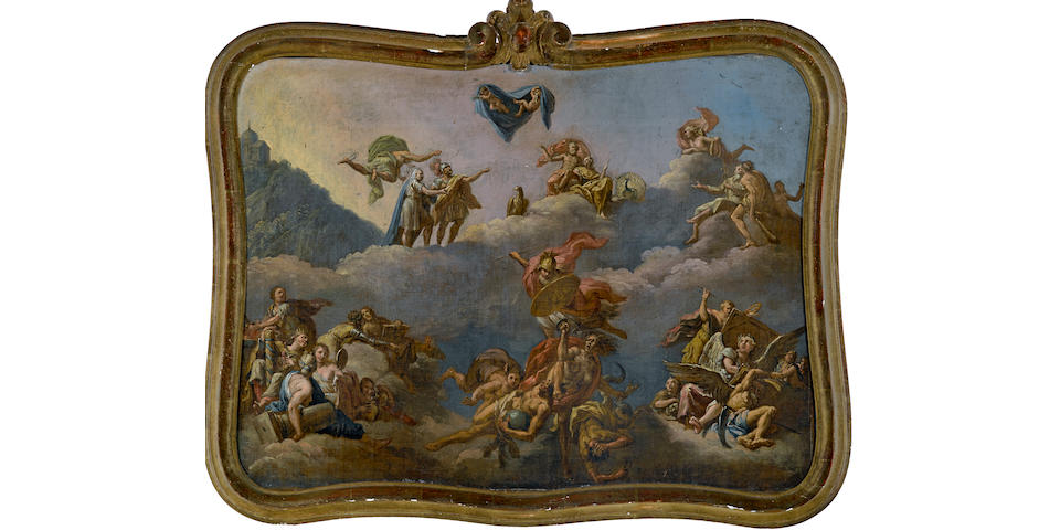 Circle of Bartholomäus Altomonte (Austrian, 1702-1779) The Gods of Mount Olympus 19 1/4 x 25 1/2in (48.8 x 64.8cm)