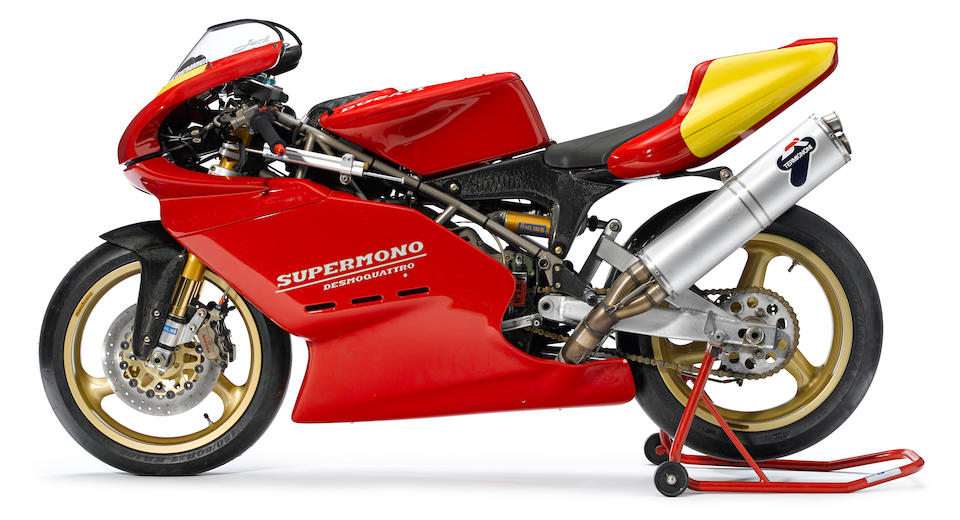 One of 67 produced for Sound of Singles roadracing,1995  Ducati Supermono Frame no. ZDM550R*000037 Engine no. ZDM550W4*000037