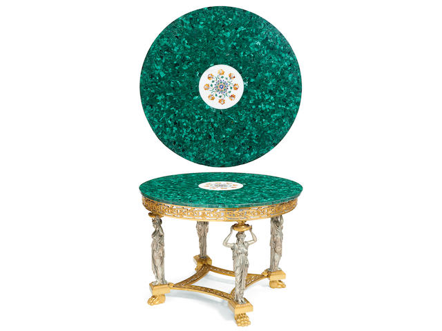 An impressive silvered and gilt bronze center table