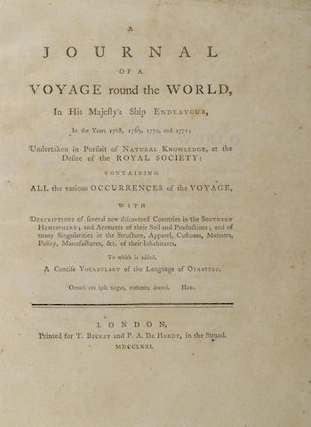 COOK'S FIRST VOYAGE.  [MAGRA (LATER MATRA), JAMES.] A Journal of a Voyage Round the World, in His Majesty's Ship Endeavour, in the Years 1768, 1769, 1770, and 1771; Undertaken in Pursuit of Natural Knowledge, at the Desire of the Royal Society: Containing All the Various Occurences of the Voyage.... London: for T.Becket and P.A. De Hondt, 1771.