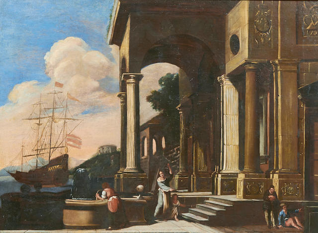 Italian School A capriccio scene with a boat in the harbor and figures in the foreground 29 x 39 1/2in (73.6 x 100.3cm)