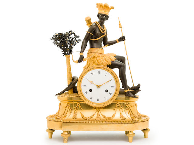 A fine Directoire patinated and gilt bronze allegorical mantel clock with figure personifying America first quarter 19th century