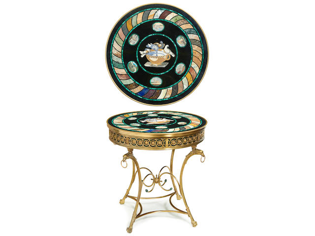 A Continental specimen marble, micromosaic and gilt bronze center table
