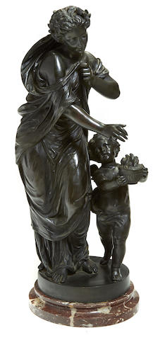 A French patinated bronze figural group after a model by Claude Michel Clodion (French, 1738-1814) circa 1900