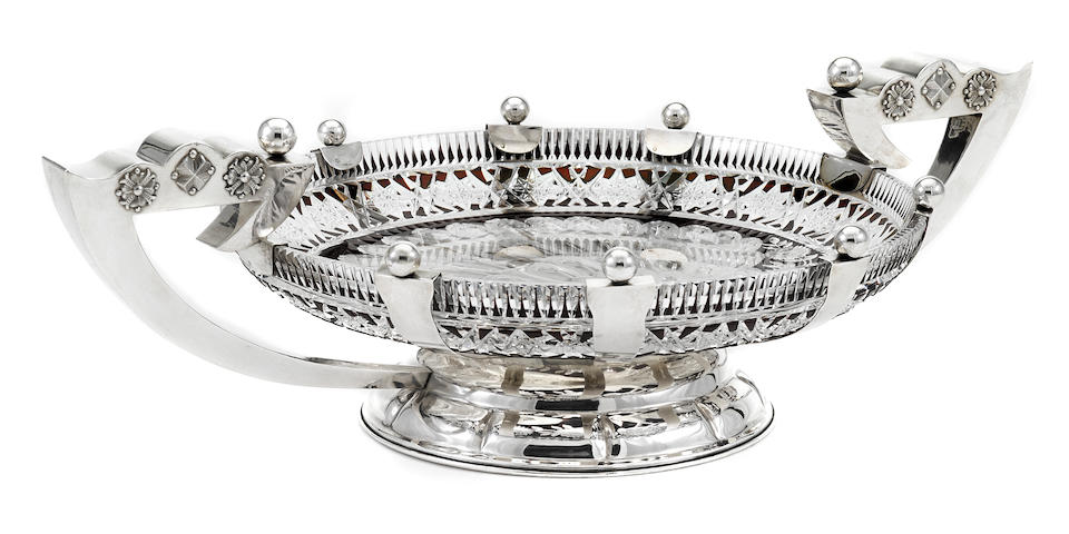 A Latvian 875 standard silver-mounted clear-and-cranberry cut-glass two-handle footed centerpiece bowl maker's mark NA,  second quarter 20th century