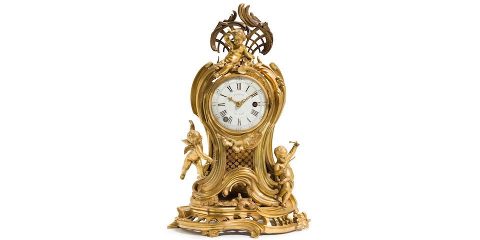 A fine Louis XV ormolu quarter striking mantel clock depicting the Triumph of Love signed Julien LeRoy à Paris F. circa 1750