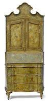 An Italian Rococo style paint decorated secretary cabinet circa 1900