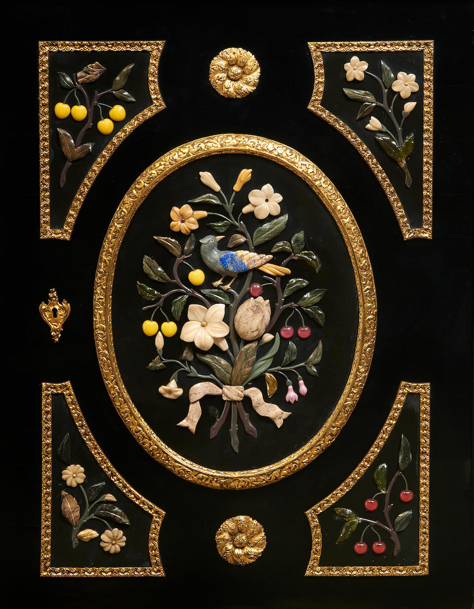 An imposing Napoleon III gilt bronze mounted and polished hardstone ebonized cabinet third quarter 19th century