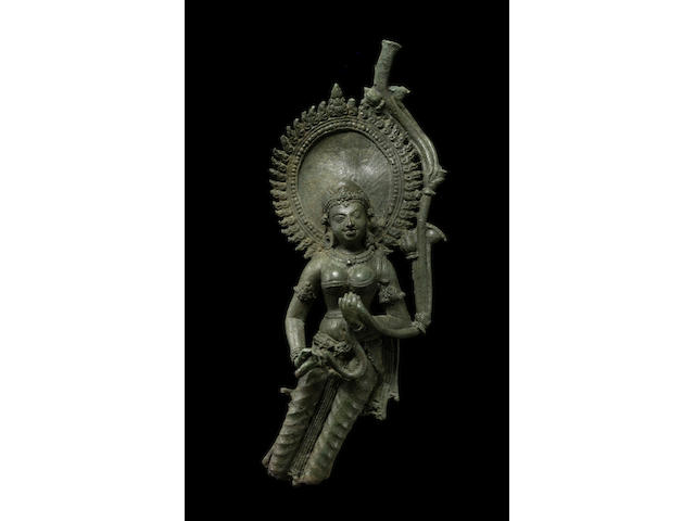 A copper alloy female attendant, Northeast India or Bangladesh, Pala period, 8th/9th century