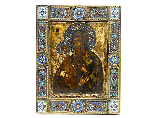 Icon of the three-handed Mother of God in silver and cloisonné enamel oklad