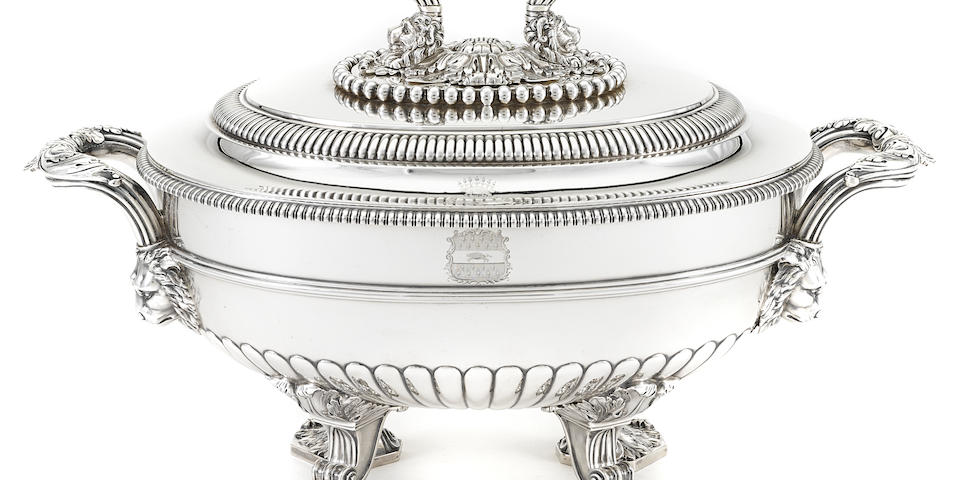 A George III  sterling silver  oval two-handled footed soup tureen by Paul Storr, London,  1811