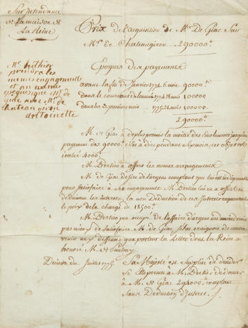 "MARIE ANTOINETTE. 1755-1793. Document Signed (""Antoinette"") and Inscribed, 1 p (with integral blank), folio, n.p., July 1779, adjudicating an agreement relating to real estate,"