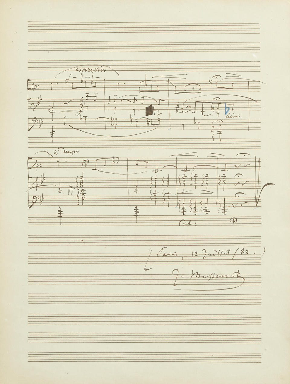"MASSENET, JULES. 1842-1912. Autograph Musical Manuscript Signed (""J. Massanet""), 2 pp, 4to, Paris, July 12, 1882, on staff paper,"