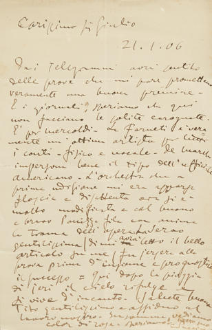 "PUCCINI, GIACOMO. 1858-1924. Autograph Letter Signed (""G. Puccini"") in Italian, 1 p, 4to, [Naples], January 21, 1906, to Giulio Ricordi, regarding the premiere of Madame Butterfly, mild creasing and age toning, letter float-mounted with portrait and framed."
