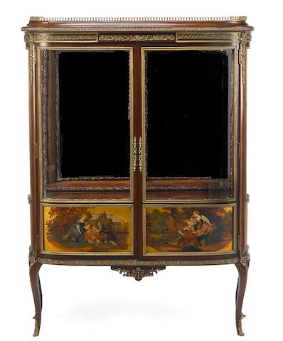 A Louis XV/XVI style gilt bronze mounted mahogany and paint decorated vitrine cabinetlate 19th/early 20th century