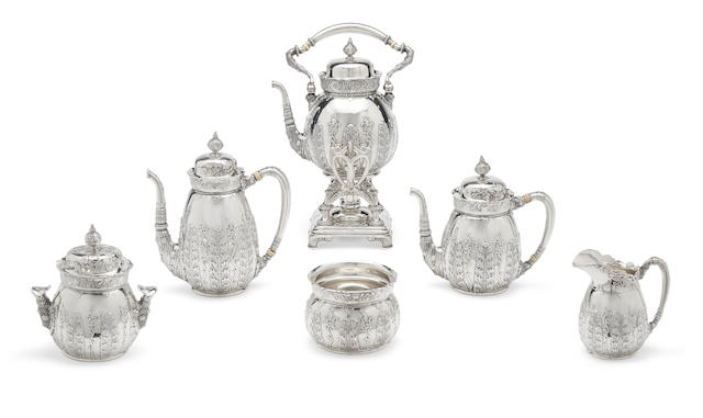 An American sterling silver six-piece tea and coffee service by Tiffany & Co., New York, NY, 1869-1902