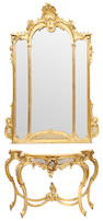 A Louis XV style carved giltwood console and mirror circa 1900