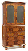 A William and Mary seaweed marquetry walnut secretary cabinet late 17th century