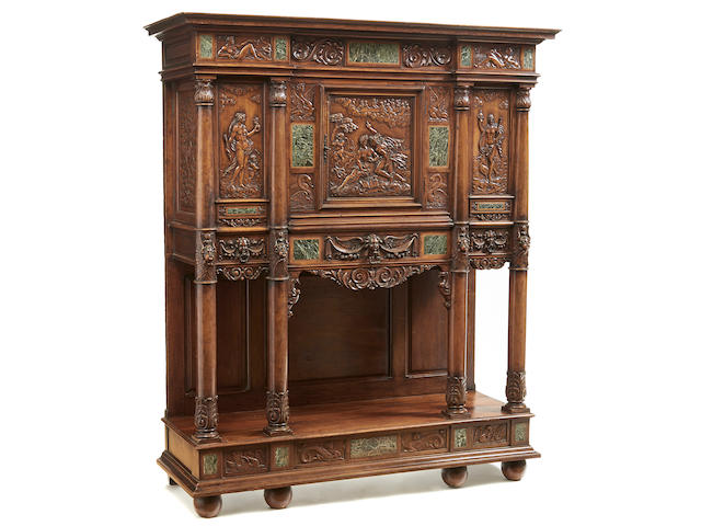 A Continental Renaissance Revival marble inset carved walnut cabinet late 19th century
