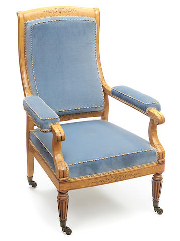 A Charles X inlaid parcel paint decorated fauteuil second quarter 19th century