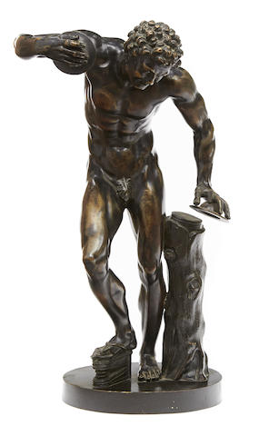 A Continental patinated bronze figure: Dancing Faun after the antique late 19th/early 20th century