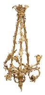 A Rococo style gilt bronze six light chandelier