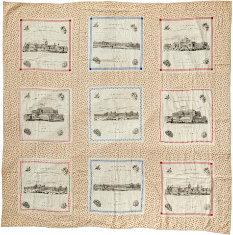 "An appliqued cotton ""Centennial"" Quilt Connecticut, circa 1876"