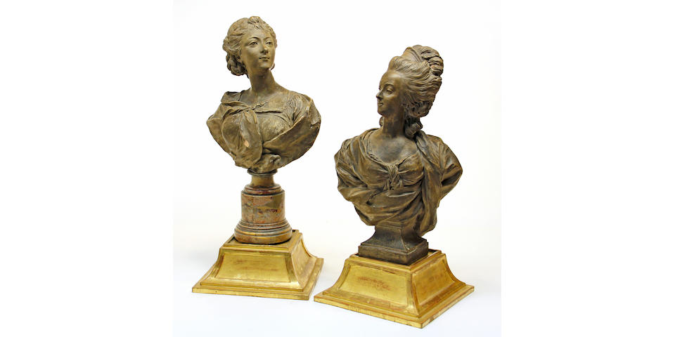 Two French terracotta portrait busts of ladies of the French court 19th century
