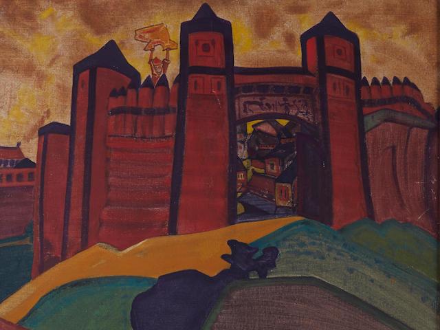Nikolai Konstantinovich Roerich (Russian, 1874-1947) 'The gates of Tmutarakan', set design for Rimsky-Korsakov's opera The Tale of Tsar Saltan, 1919