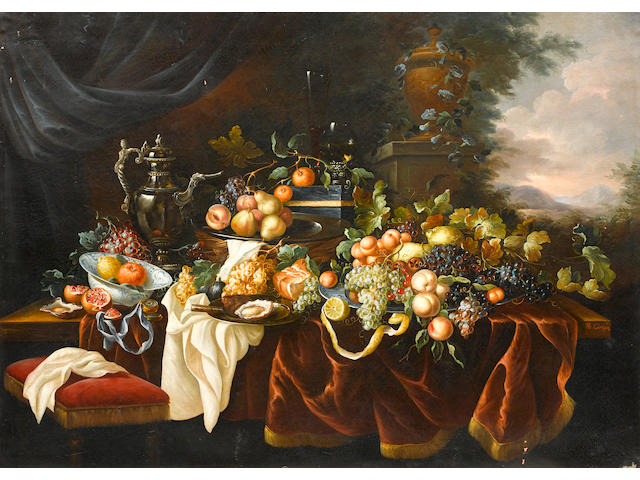 Continental School, 20th Century A still life of fruit, lobster and vessels on a table and a landscape beyond; also a companion painting (a pair) each 51 x 70 3/4in (129.5 x 179.7cm)