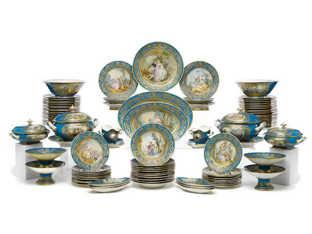 An extensive Sèvres style porcelain part dinner service early 20th century