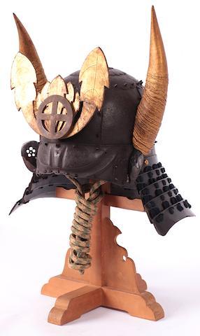 A fine russet-iron helmet (Saika bachi) Late Muromachi period (16th century)