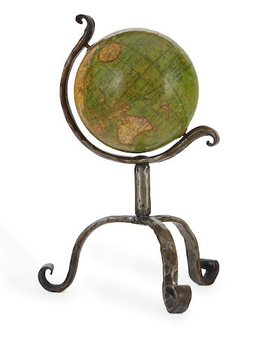 MINIATURE TABLETOP GLOBE; JACOB & HALSE. [Terrestrial Globe]. London: 1809.