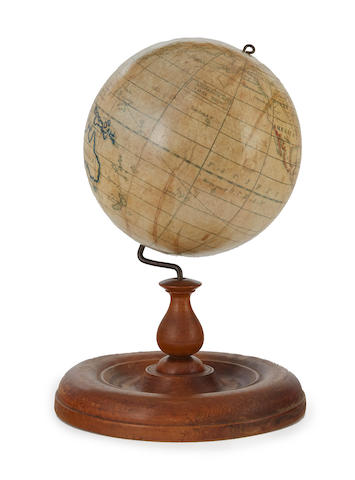 TEACHING GLOBE; HOLBROOK & CO. [American Teaching Globe]. Berea, Ohio: Holbrook & Co., c.1840.