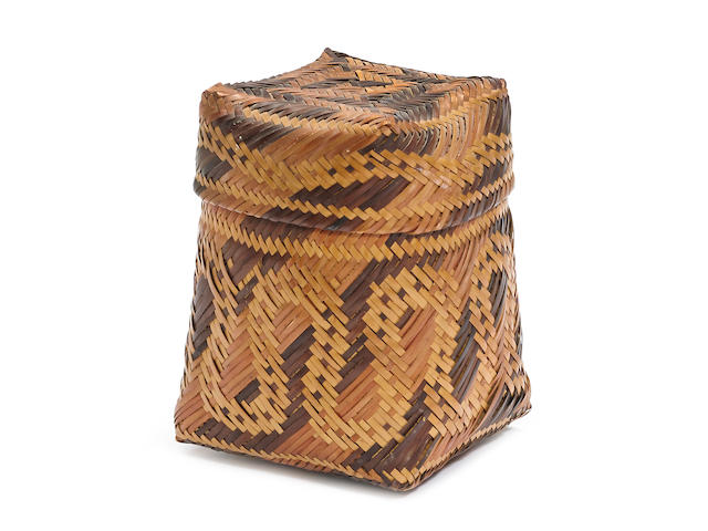 A Chitimacha polychrome lidded basket