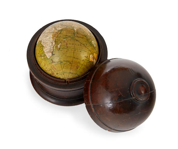 POCKET GLOBE; NEWTON, SON & BERRY. NEWTON, SON & BERRY. Newton's New & Improved Terrestrial Globe.  London: Newton Son & Berry, 66 Chancery Lane, c.1833.