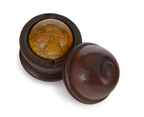 MINIATURE GLOBE; MALBY & CO. [Terrestrial Globe.] Houghton Street, Newcastle Street, Strand: Malby & Co., 1842.