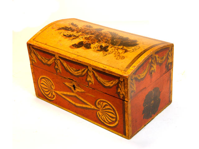 A Federal painted and stencil decorated dome top document box possibly Pennsylvania early 19th century