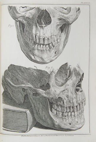 HUNTER, JOHN. 1728-1793. A Natural History of the Human Teeth: Explaining their Structure, Use, Formation, Growth & Diseases.  WITH: A Practical Treatise on the Diseases of the Teeth Intended as a Supplement to the Natural History of Those Parts. London: J. Johnson, 1771-1778.