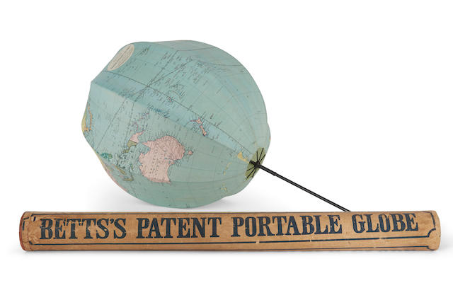 COLLAPSIBLE GLOBE; BETT, JOHN. Bett's Patent Portable Globe Compiled from the Latest and Best Authorities. London: George Philip & Son Ltd, c.1860.