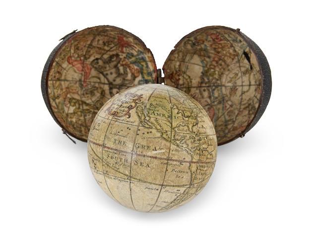 POCKET GLOBE; CUSHEE, RICHARD. A New Globe of the Earth. London: R. Cushee, 1731.