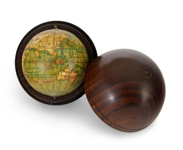 MINIATURE GLOBE. [Terrestrial Globe]. English, ca. 1770.